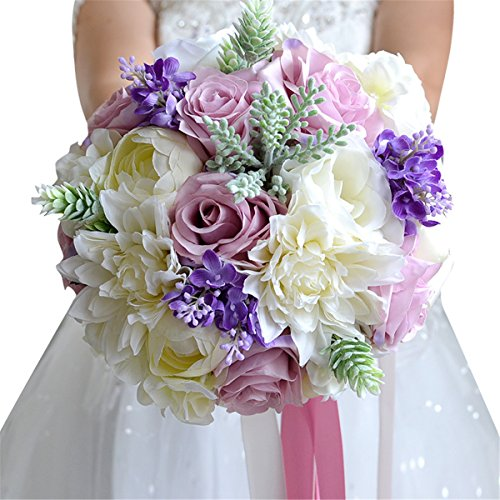 Bouquet Wildflower Wedding (Zebratown 9'' Artificial Calla Lavender Flower Purple Rose Wedding Bouquet Party Home Decor (Purple))