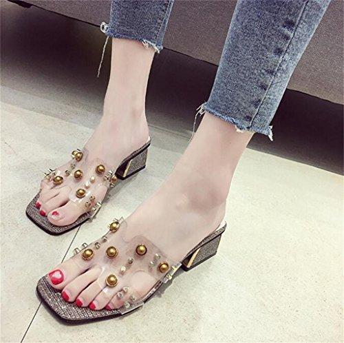 Oro del Tacón Sandalias Mujer para Elegante Resplandecer para talón 6cm Verano Perlas Zapatos Bloquear con Correa Transparente Studs Zapatilla Brillante en Altura HrrwX1q