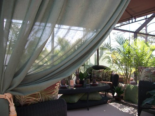"""50% OFF!! Clearance SALE!! Beautiful Indoor/Outdoor Patio Drapes..Only $59.00 includes (2 panels) Wouldalso make a Beautiful Gift... Hurry while supplies last!.....48"""" Wide X 84"""" Length.....Olive Green.."""