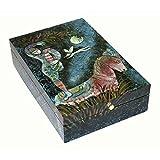 "''Fairytale'' Hand Painted box, by Coromandel Arts, 8'' L x 12'' W x 3"" H"