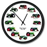 """New Oliver Wheel Dial - 12 Tractors Clock 10"""" Round 1926 - 1969 Green Tractor"""
