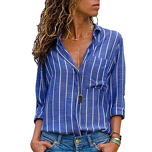 iQKA Women Stripe Linen Shirt Long Sleeve Pocket Button Casual Loose Top Lapel Blouse(z-Blue,Large)