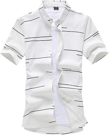 NANSHIZSCS Camisa de hombre Camisa A Rayas Hombre Moda Verano ...