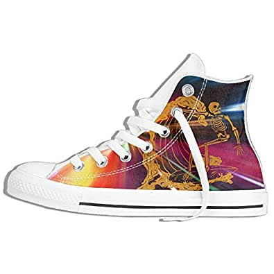 Halloween Surf Skeleton Surfing On A Long Board Unisex Canvas Lace Up High-Top Fashion Sneakers For Men Woman