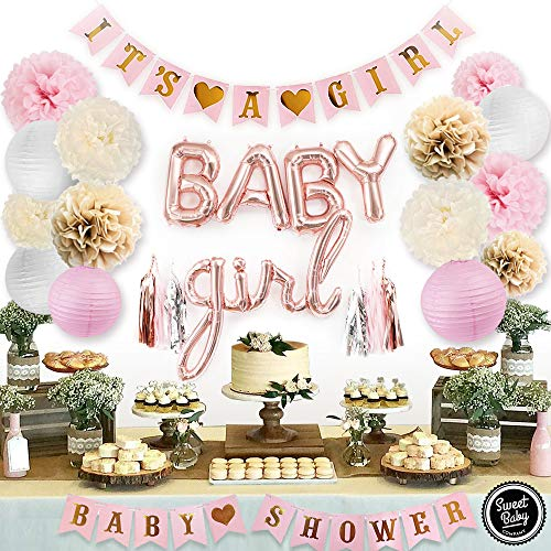 Sweet Baby Co. Pink Baby Shower Decorations For Girl With It's A Girl Banner, Baby Girl Foil Letter Balloons, Flower Pom Poms, Paper Lanterns, Tassels (Rose Gold, Pink, Ivory, Khaki, White) | Baby Shower Decorations Set -