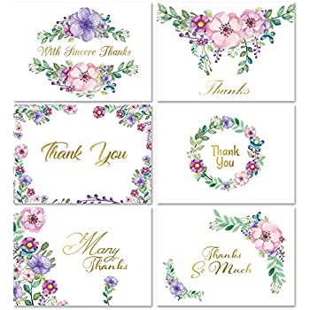Amazon momenttz thank you note cards gold foil letters 48 momenttz thank you note cards gold foil letters 48 pack blank greeting cards m4hsunfo