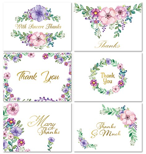 Momenttz Thank You Note Cards - Gold Foil Letters 48 Pack - Blank Greeting Cards & Envelopes - 6 Designs - 4 x 6 in - for Baby & Bridal Shower, Birthday, Graduation, Engagement, Wedding, Corporate by Momenttz
