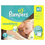 Pampers Swaddlers Disposable Diapers Newborn Size 1 (8-14 lb), 222 Count (Packaging May Vary)