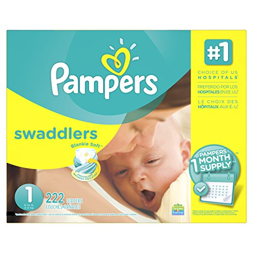 Pampers Swaddlers Disposable Diapers Newborn Size 1  8 14 Lb   222 Count  One Month Supply