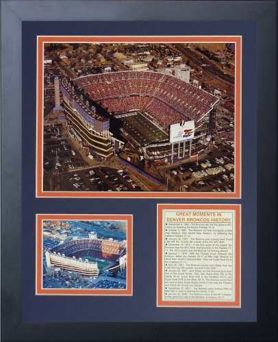 Legends Never Die Denver Broncos Mile High Stadium Framed Photo Collage, - Framed Broncos Denver Wall
