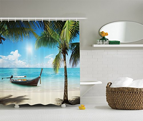 Coconut Palms Shower Curtain Set Small Fishing Boat in The Atlantic Ocean Dominican Bathroom Accessories
