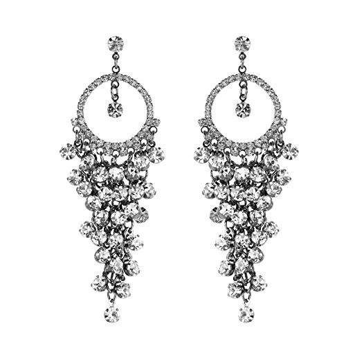 1% HundredthZ Large Ornate Silver Cubic Zirconia Tassel Dangle Drop Earrings for Women in Wedding Bride by HundredthZ
