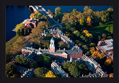 Cambridge, Massachusetts - Aerial View of Eliot House Clock Tower, Harvard - Photography A-93083 (24x15 5/8 Giclee Art Print, Gallery Framed, Black Wood)