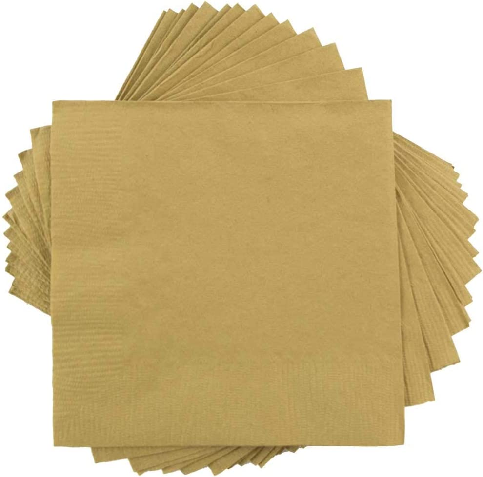 JAM PAPER Small Beverage Napkins - 5 x 5 - Gold - 50/Pack