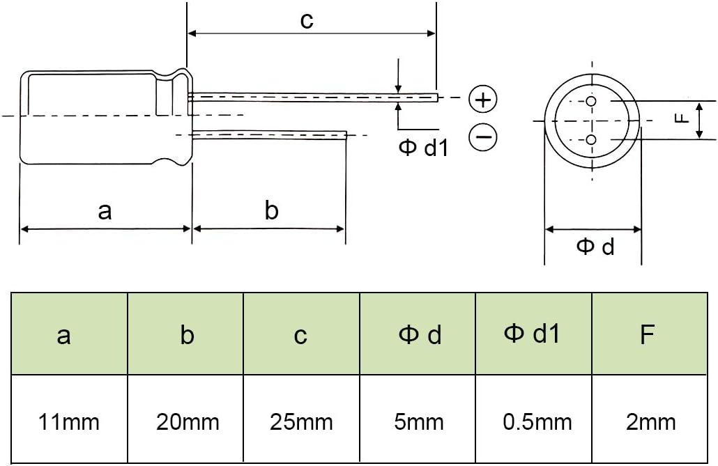 Aluminium Radial Elektrolytkondensator 4.7uf 50V 5 x 11 mm schwarz de sourcing map 100 Stk