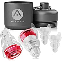 Audiomate High-Fidelity Earplugs with Metal Keychain Carry Case and 2 Interchangeable Earbuds | Comfortable Soft Silicone | HiFi Noise Attenuating Ear Plugs for Musicians, Concert, Sleeping & More