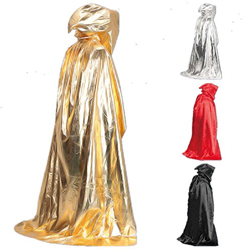 Kangkang@ Death Devil Wicca Robe Vampire Dracula Hoody Cloak Long Tippet Cape for Halloween Costume Theater Role Play Fancy Dress Prop (black) ()