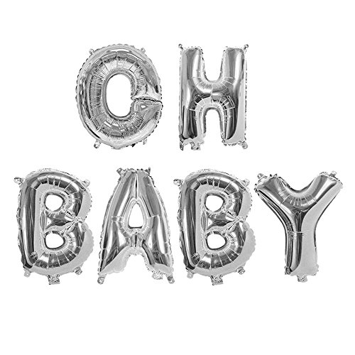 Treasures Gifted 40 Inch Oh Baby Balloon in Silver Newborn Shower Large Letters for Boy or Girl Mylar Foil Announcement Party Supplies Prince Princess Sparkle Back Drop Sign -