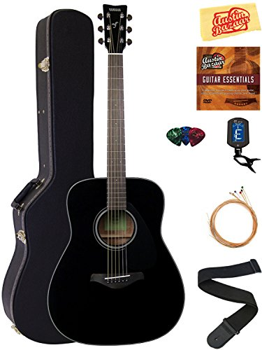 Yamaha FG800 Solid Top Folk Acoustic Guitar - Black Bundle with Hard Case, Tuner, Strings, Strap, Picks, Austin Bazaar Instructional DVD, and Polishing Cloth