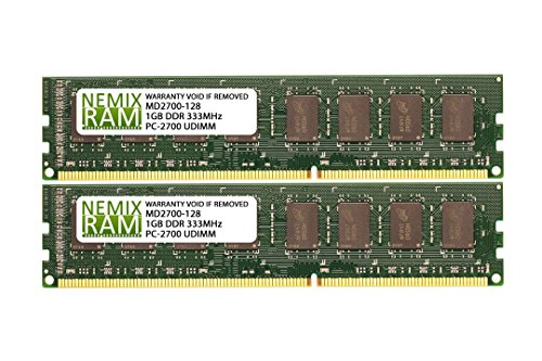 - 2GB (2x1GB) DDR-333MHz PC-2700 Non-ECC UDIMM 2Rx8 2.5V Unbuffered Memory for Desktop PC