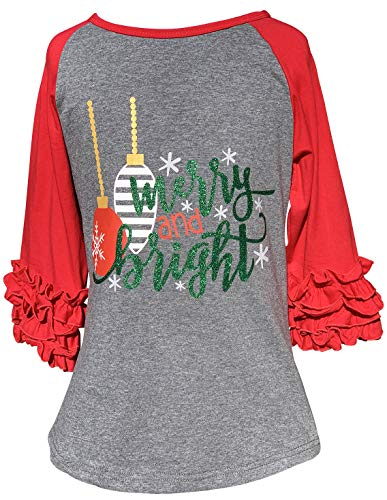 Little Girls Merry Bright Snowflake Glitter Christmas Party Raglan Top T-Shirt Tee Grey 3T S (P318539P)