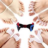 Bunion Corrector & Bunion Relief Protector Sleeves Kit, Treat Pain in Hallux Valgus - Tailors Bunion - Big Toe Joint - Hammer Toe - Toe Separators Spacers Straighteners Splint Aid Surgery Treatment