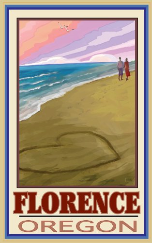 Northwest Art Mall Florence Oregon Love on Coast Unframed Prints by Joanne Kollman, 11-Inch by 17-Inch for $<!--$19.99-->