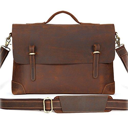 Kattee Genuine Leather Messenger Bag Tote, Leisure 15 Inch Laptop Briefcase Coffee