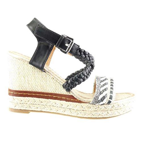 Angkorly Women's Fashion Shoes Sandals Espadrilles - Platform - Rhinestone - Thong - Braided Wedge Platform 10 cm Black Yni5K