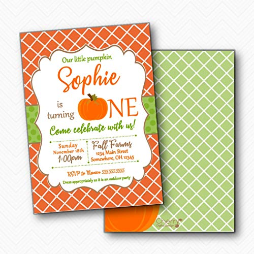 Our Little Pumpkin is Turning ONE First 1st Birthday Party Invitations | Envelopes -
