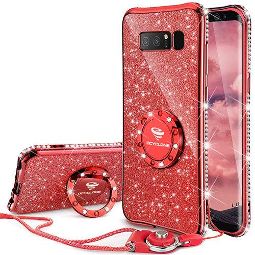 Galaxy Note 8 Case, Glitter Cute Phone Case Girls with Kickstand, Bling Diamond Rhinestone Bumper Ring Stand Sparkly Luxury Clear Thin Soft Protective Samsung Galaxy Note 8 Case for Girl Women - Red