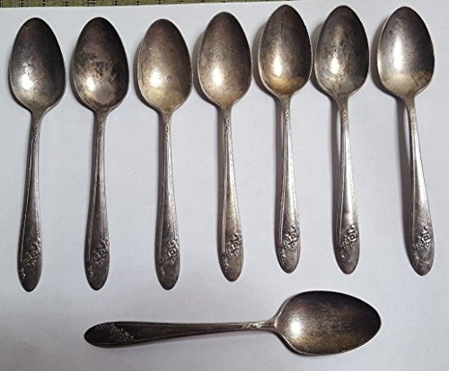 8 ONEIDA Community Tudor Plate Silverplate Dessert Spoons Set of 8