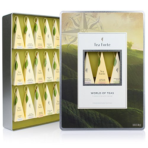 Tea Forté WORLD OF TEAS Large Tin Sampler Gift Assortment with 15 Handcrafted Pyramid Tea Infusers - Green Tea, Herbal Tea, Black Tea (Gourmet Tea Baskets)