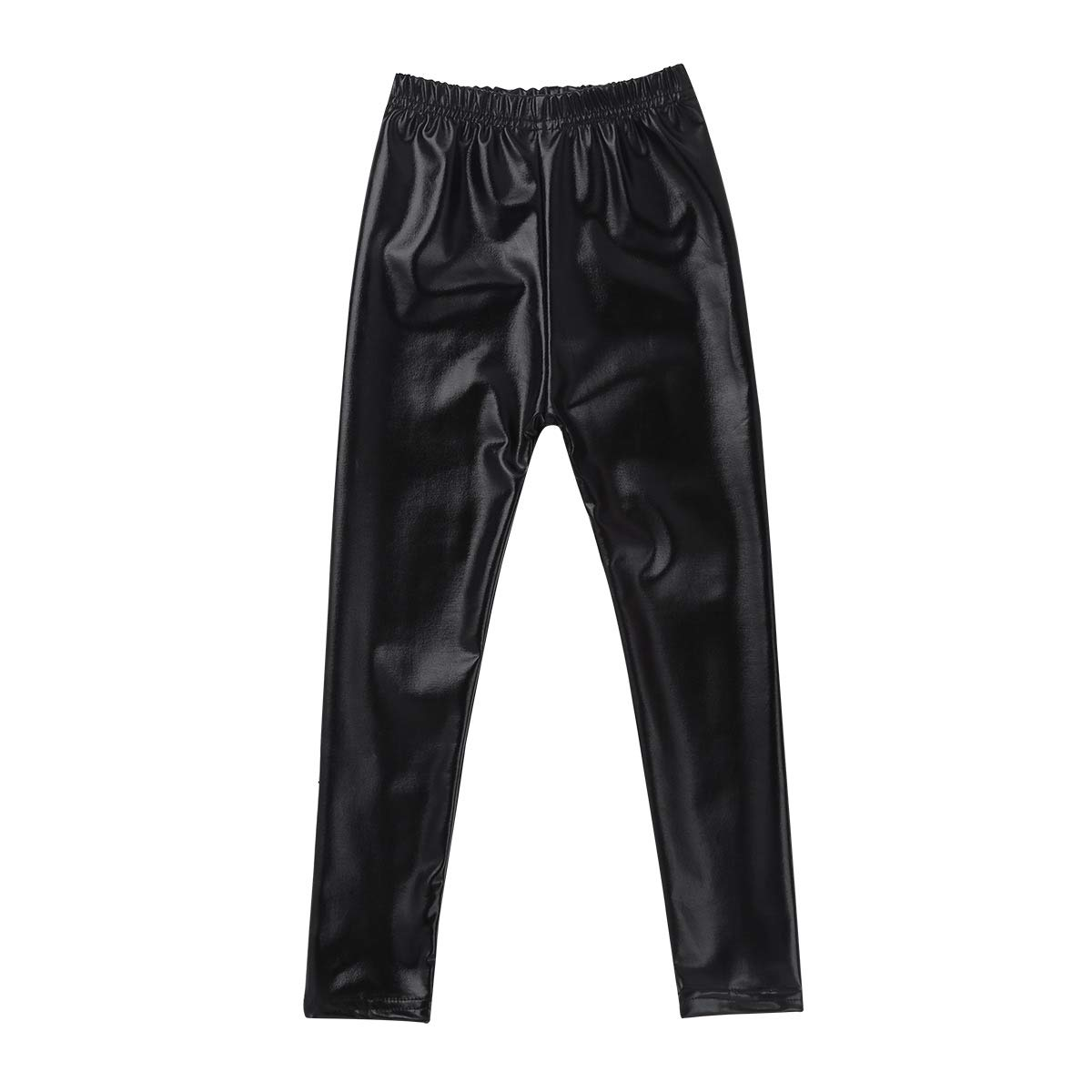 iEFiEL Kids Little Girls Stretchy Faux Leather Legging Pants Teens Shiny Metallic Trousers Tights for Party Holiday Casual