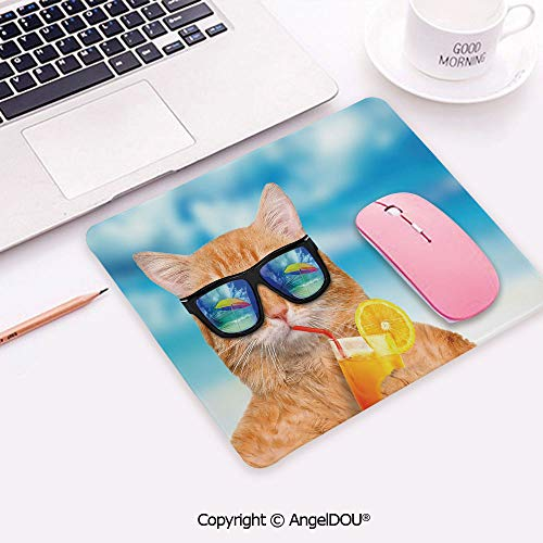 Rectangle Mouse Pad Non-Slip Rubber Mouse Pad Cat Wearing Sunglasses Relaxing Cocktail in The Sea Background Summer Kitty Image Mouse Mat for Computers ()