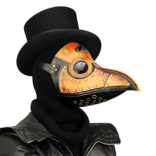 Qhome Steampunk Plague Beak Mask Gothic Cosplay Retro Doctor Bird Mask Brown Black - Realistic Joker Costumes
