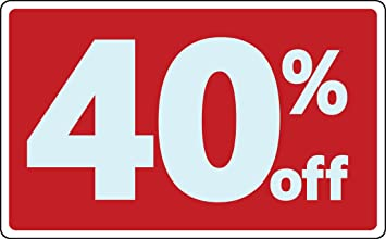 Amazon.com : Sale 40% Percent Off Business Sign Retail Store Discount  Promotion Message : Office Products