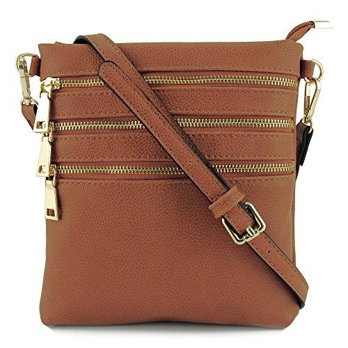 Brown Shoulder Travel Zipper Bag Basic 4 Crossbody xnwtR81YWq