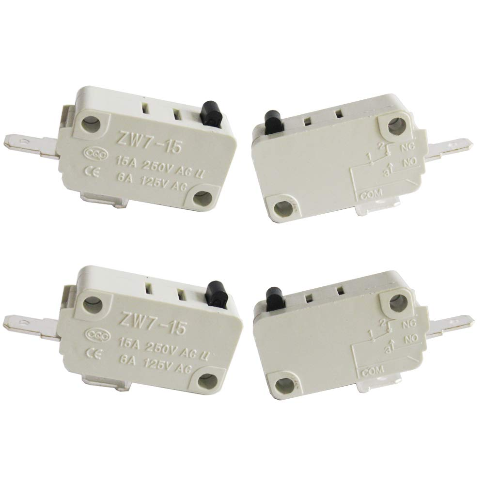 Twidec/4Pcs for DR52 16A 125/250V Universal Microwave Oven Door Micro Switch NO (Normally Open) ZW7-15-W/NO