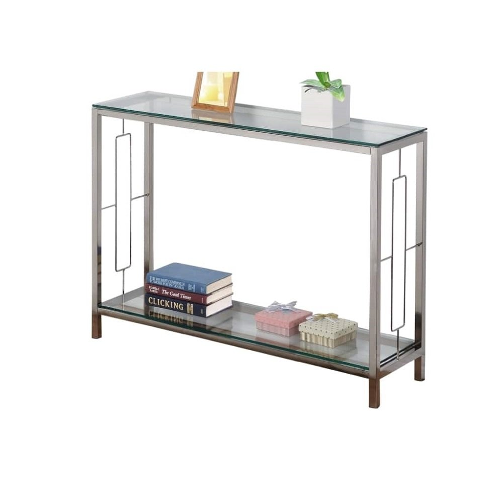 Chrome Metal Glass Accent Console Sofa Table with Shelf by eHomeProducts