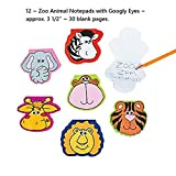 12 Safari Animal Jungle Zoo Notepads with Wiggle Eyes