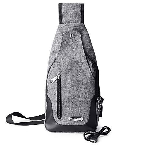 Male Sling Chest Pack Crossbody Bags for Men Messenger Canvas USB Charging