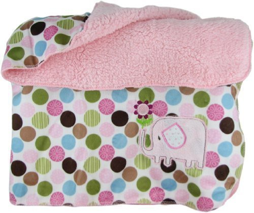 Snugly Baby Polka Dot Sateen & Fleece Baby Blanket w/ Elephant