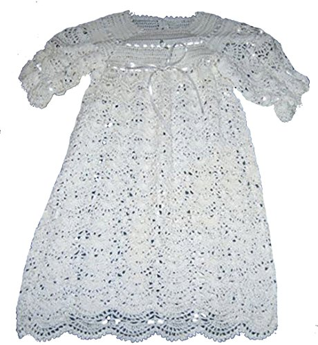 (Girls Hand Crocheted White Christening Gown, Booties, and Bonnet NWT Fits 0-12m)