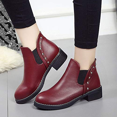 Short Retro Retro Head Boots Solid Martin Lady Fashion Rivet Women FALAIDUO British Fashion Red Casual Color Boots Flat Round 6pfHxn