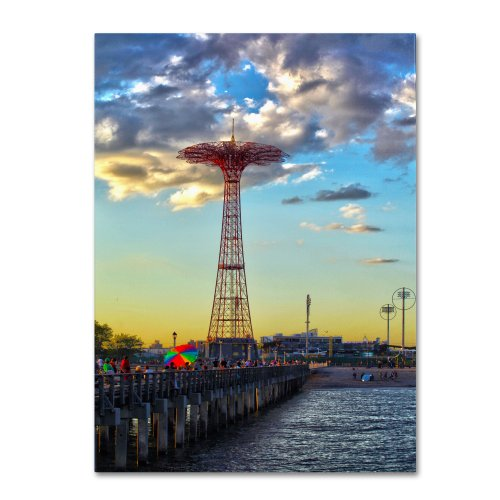 Coney Island  by CATeyes, 16 by 24-Inch Canvas Wall Art (Best Rides Coney Island)