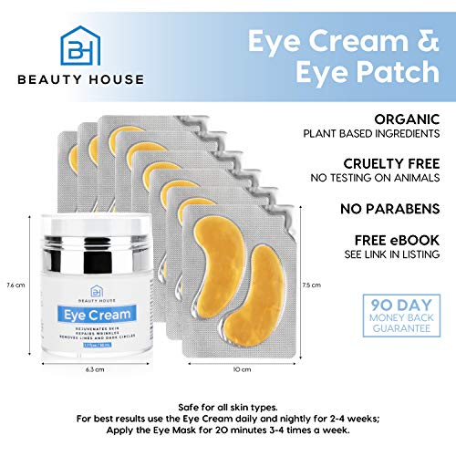 51ZK%2BGFr5yL - Beauty House Premium Anti Aging Treatment Eye Cream (1.7 oz) with 24K Gold Eye Treatment Masks (8 Pairs) | Under Eye Patches, Dark Circles Under Eye Treatment for Puffy Eyes with Free eBook