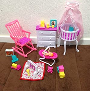 barbie size dollhouse furniture gloria baby home nursery set barbie doll house furniture sets