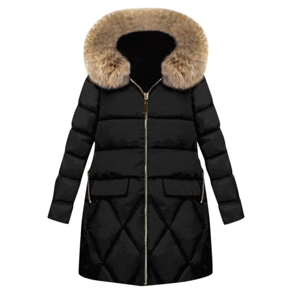 BBTshop Women Coats Jackets Fur Hooded Button Winter Sweater Outerwear Pocket Tops Sweatshirt Winter Warm Overcoat Long Sleeve Trench Blouses Ladies Trench Suit Blazer Tailcoat Shirt by BBTshop
