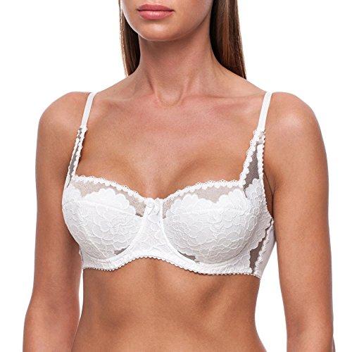 frugue Women's Sexy Push Up Balconette Lace Shelf Bra Ivory & Pepper 2 38 C
